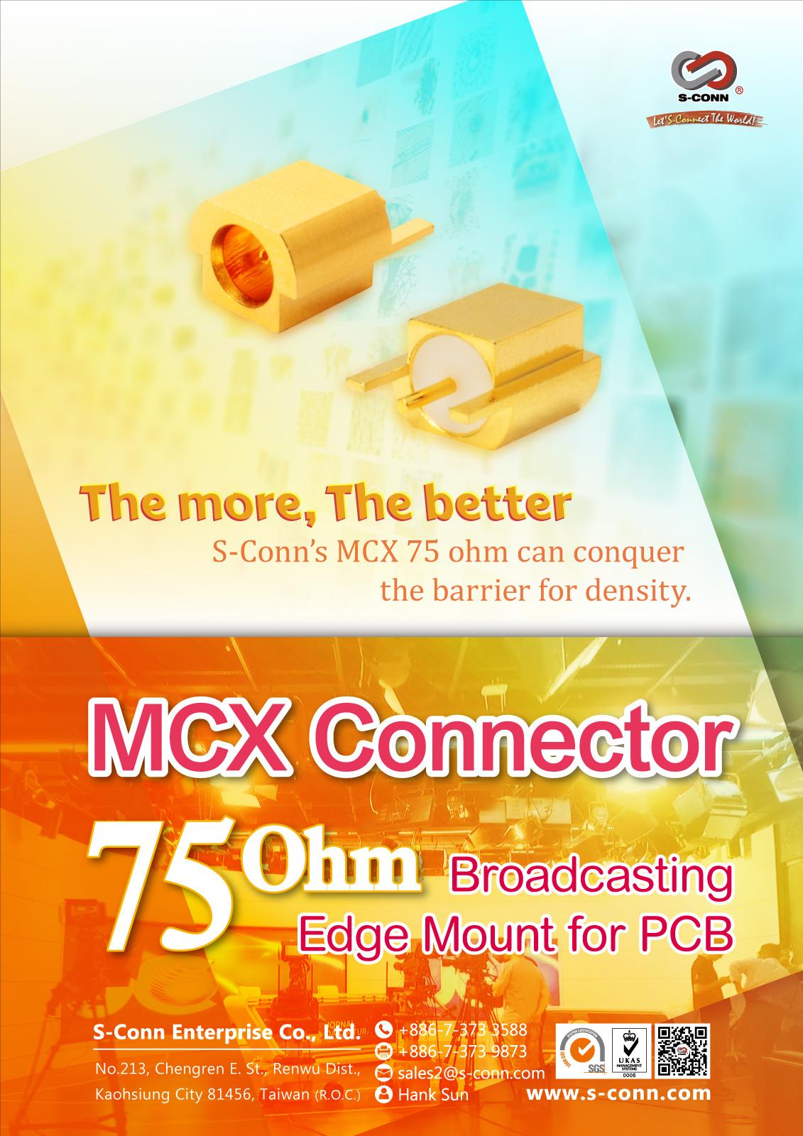 MCX 75 Ohm Edge Mount